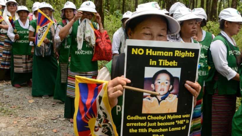 Tibetan Buddhist protesters