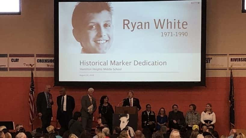 Ryan White's picture displayed at Hamilton Heights Middle School