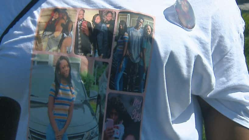 A photo of a tee shirt honoring the three children killed in a recent crash