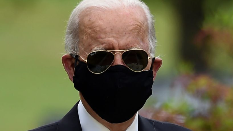 Democratic presidential candidate and former US Vice President Joe Biden arrives to pay his respects to fallen service members on Memorial Day at Delaware Memorial Bridge Veteran's Memorial Park in Newcastle, Delaware, May 25, 2020. (Photo by Olivier DOULIERY / AFP) (Photo by OLIVIER DOULIERY/AFP via Getty Images)