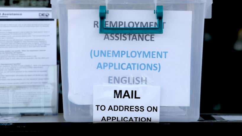 A box of unemployment applications.