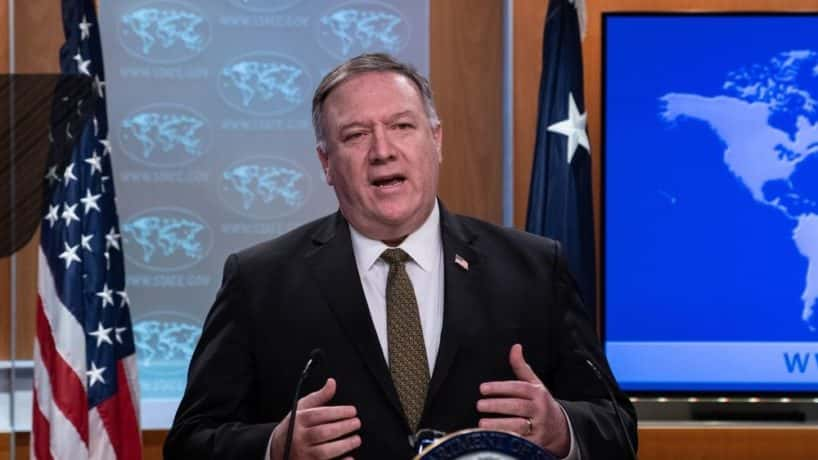 """US Secretary of State Mike Pompeo speaks at a press briefing at the State Department in Washington, DC, on April 22, 2020. - A controversial decision on whether to annex much of the West Bank is the prerogative of Israel's new unity government, US Secretary of State Mike Pompeo said April 22, 2020. """"As for the annexation of the West Bank, the Israelis will ultimately make those decisions,"""" Pompeo told reporters. """"That's an Israeli decision."""""""