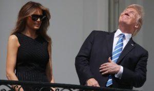Trump stares into sun