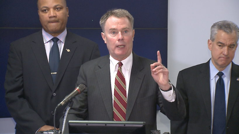 Indianapolis Mayor Joe Hogsett speaks to a group of reporters Wednesday about his anti-violence initiative.
