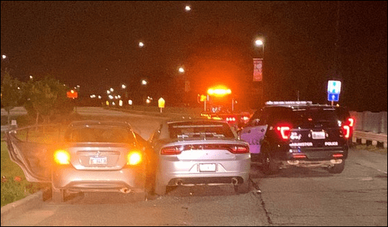 A photo of a three cars involved in a chase in Munster that led to a shooting