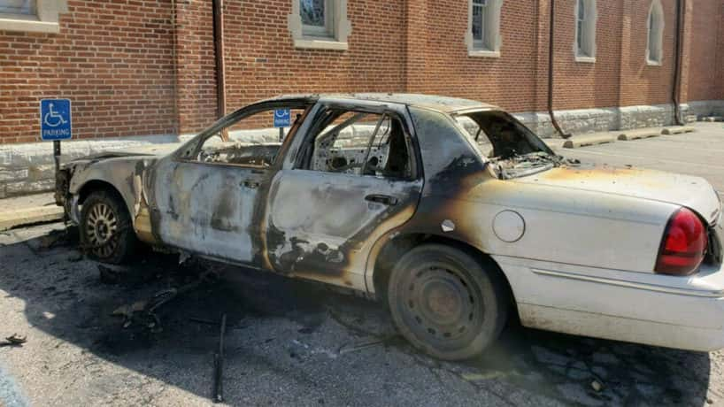 A burned-up car.