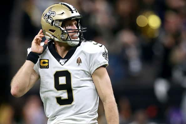A photo of Drew Brees playing QB for the New Orleans Saints