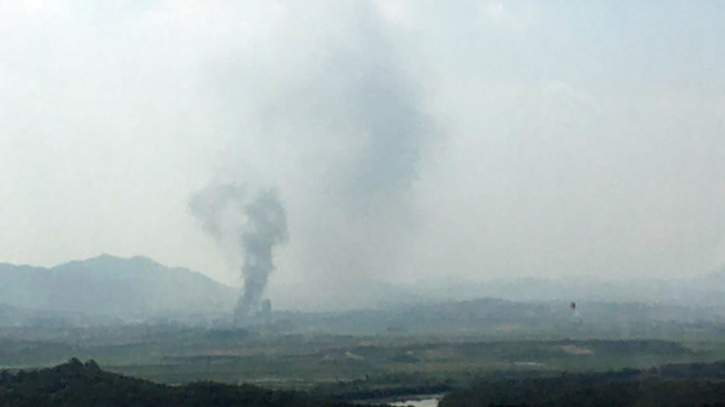 Smoke rises from Kaesong in this picture taken from Paju, South Korea.