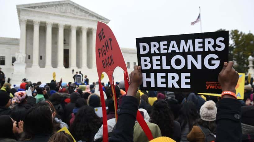 Pro-DACA activists gathered outside the Supreme Court building in Washington, D.C.