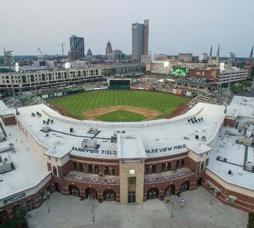 A birds-eye view of Parkview Field from the main entrance