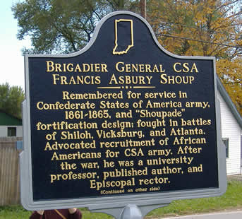 Indiana historical marker commemorating the Laurel birthplace of Confederate General Francis Shoup
