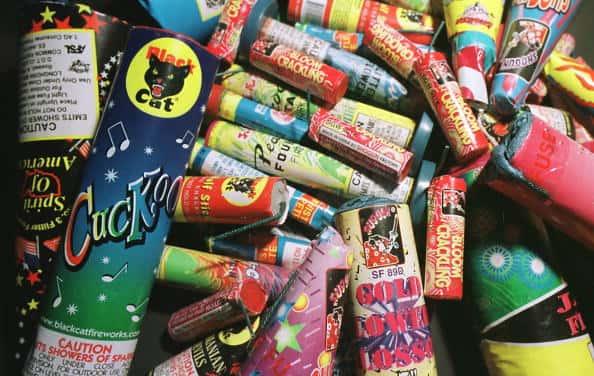 Color-emitting sparkling fireworks are on display June 28, 2001 in Denver, CO.