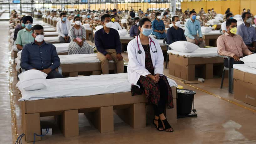 Hospital workers at India hospital