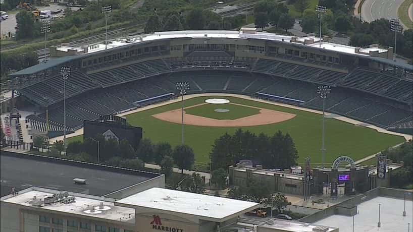 An aerial view of Victory Field in Indianapolis