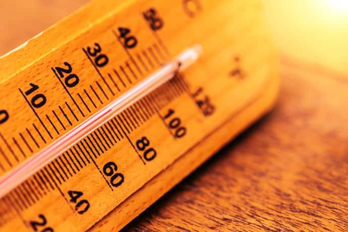 An image of a thermometer showing a high temperature