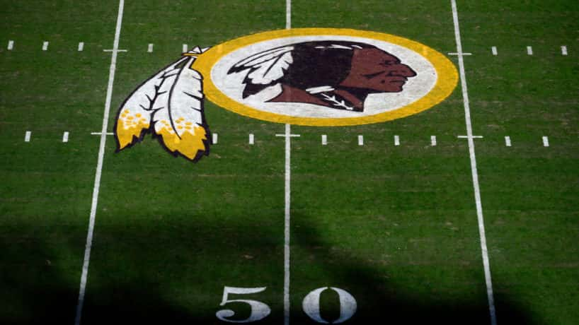 A general view of the Washington Redskins logo at center field before a game between the Detroit Lions and Redskins at FedExField on November 24, 2019 in Landover, Maryland. (Photo by Patrick McDermott/Getty Images)