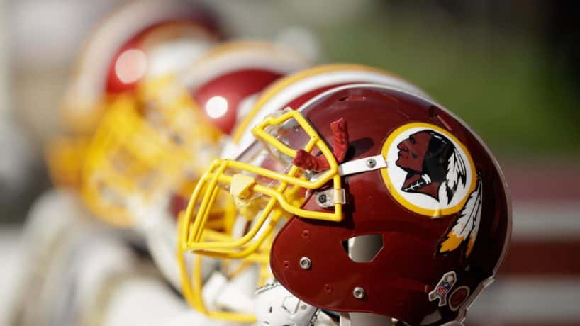Washington Redskins helmets on the sideline during their game against the San Francisco 49ers at Levi's Stadium in Santa Clara, Calif.