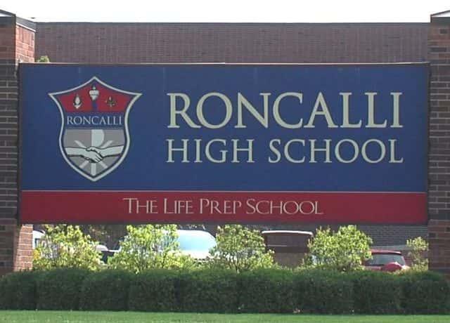 A photo of a the Roncalli High School logo