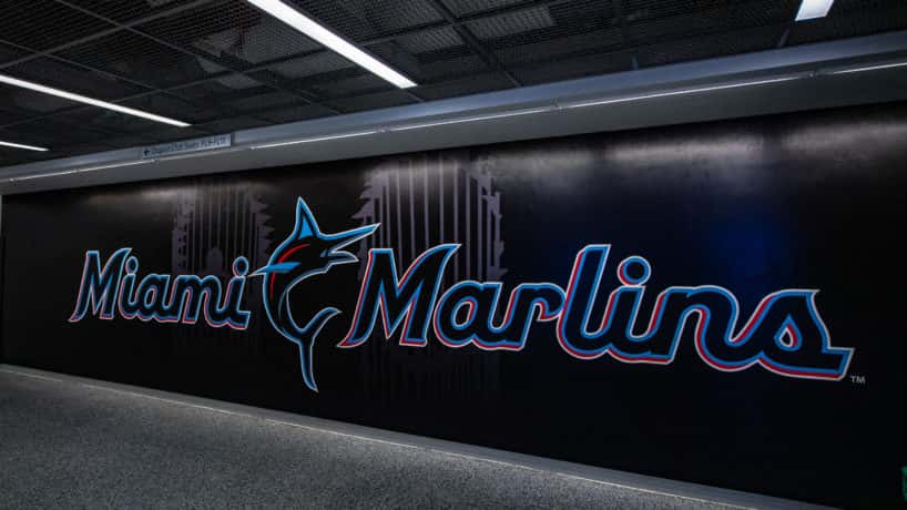 A general view of the new Miami Marlins logo in Marlins Park before the game between the Miami Marlins and the Colorado Rockies on Opening Day at Marlins Park on March 28, 2019 in Miami, Florida.