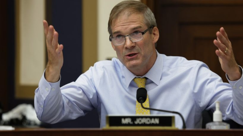 """Congressman Jim Jordan (R-OH) speaks during an Antitrust, Commercial and Administrative Law Subcommittee hearing on """"Online platforms and market power. Examining the dominance of Amazon, Facebook, Google and Apple"""" on Capitol Hill on July 29, 2020 in Washington, DC. (Photo by Graeme Jennings - Pool/Getty Images)"""