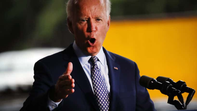 The presumptive Democratic presidential nominee Joe Biden speaks at McGregor Industries on July 09, 2020 in Dunmore, Pennsylvania. The former vice president, who grew up in nearby Scranton, toured a metal works plant in Dunmore in northeastern Pennsylvania and spoke about his economic recovery plan. With fewer than four months until the election, polls continue to show Biden leading in Pennsylvania which is a battleground state in the race for the presidency. (Photo by Spencer Platt/Getty Images)