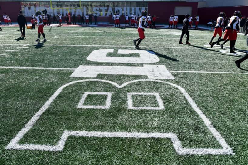 Big Ten logo on a football field