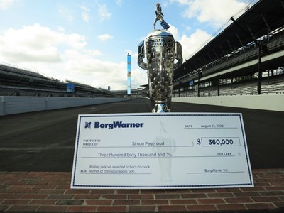 The Borg-Warner Trophy with a check for $360,000