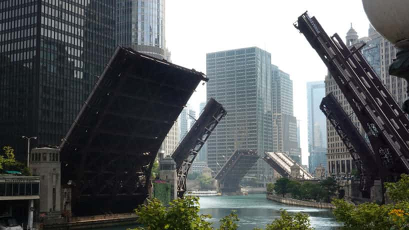 Bridges across the Chicago river are raised to control access into downtown as widespread looting broke out in the city on August 10, 2020 in Chicago, Illinois. The looting which occurred throughout downtown and near-north neighborhoods led to several arrests. (Photo by Scott Olson/Getty Images)