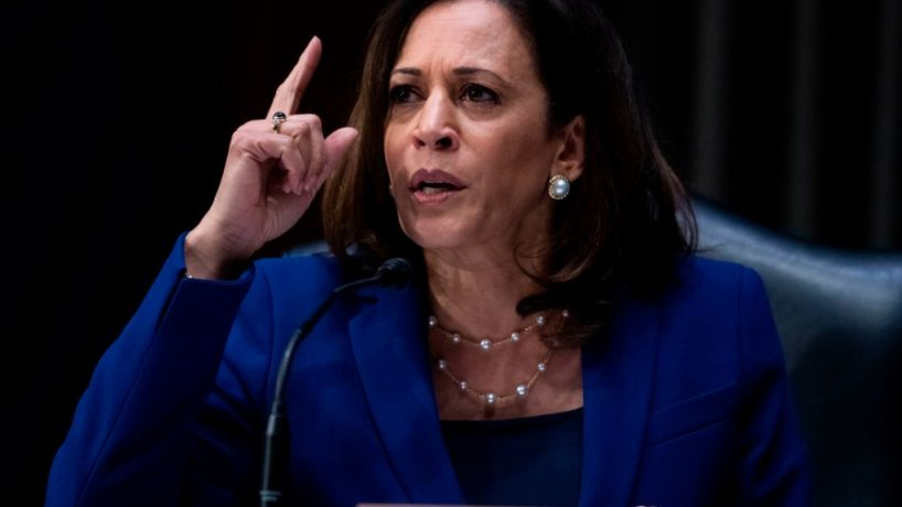 Senator Kamala Harris, D-CA, asks a question during the Senate Judiciary Committee hearing titled Police Use of Force and Community Relations, in Dirksen Senate Office Building in Washington, DC, on June 16, 2020. (Photo by Tom Williams / POOL / AFP) (Photo by TOM WILLIAMS/POOL/AFP via Getty Images)