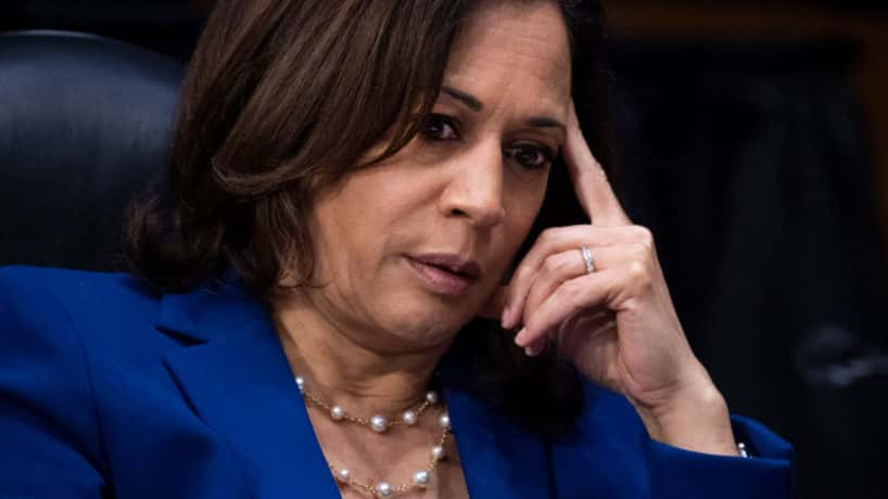 Sen. Kamala Harris (D-CA) attends a Judiciary Committee hearing in the Dirksen Senate Office Building on June 16, 2020 in Washington, D.C. The Republican-led committee was holding its first hearing on policing since the death of George Floyd while in Minneapolis police custody on May 25. (Photo by Tom Williams-Pool/Getty Images)