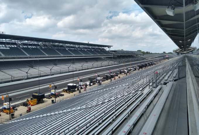 Empty grandstands at IMS