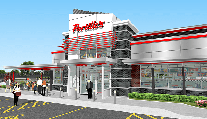 The mockup of a future Portillo's restaurant in Westfield, Ind.