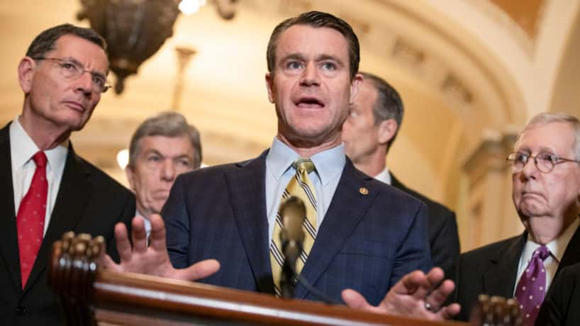 Republican Senatorial Committee Chairman Todd Young (R-IN) speaks to reporters following the Senate Republican policy luncheon which both President Donald Trump and Vice President Mike Pence attended on March 10, 2020 in Washington, DC. Lawmakers focused on the spread of the coronavirus and the state of the economy as markets react to the virus during the luncheon. He is joined by (from left to right) Senate Republican Conference Chairman John Barrasso (R-WY), Republican Policy Committee Chairman Roy Blunt (R-MO), and Senate Majority Leader Mitch McConnell (R-KY). (Photo by Samuel Corum/Getty Images)