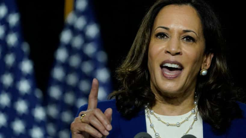 Senator Kamala Harris delivers comments on young people in 2015.