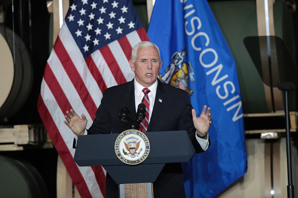 Mike Pence speaking at a rally in Wisconsin