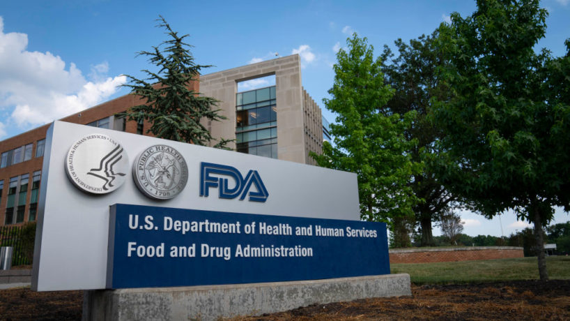 A sign for the Food And Drug Administration is seen outside of the headquarters on July 20, 2020 in White Oak, Maryland.