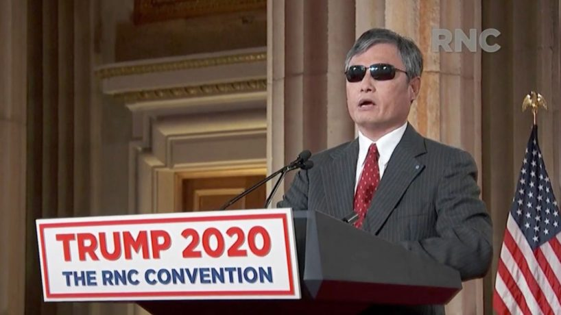 In this screenshot from the RNC's livestream of the 2020 Republican National Convention, Chinese human rights activist Chen Guangcheng addresses the virtual convention on August 26, 2020. The convention is being held virtually due to the coronavirus pandemic but will include speeches from various locations including Charlotte, North Carolina and Washington, DC. (Photo Courtesy of the Committee on Arrangements for the 2020 Republican National Committee via Getty Images)