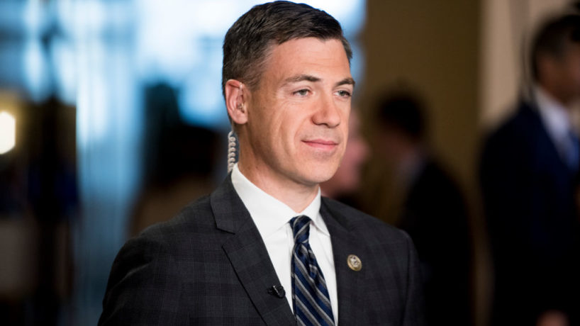 Rep. Jim Banks, R-Ind., does a television interview in the Capitol on Wednesday, Sept. 27, 2017. (Photo By Bill Clark/CQ Roll Call)