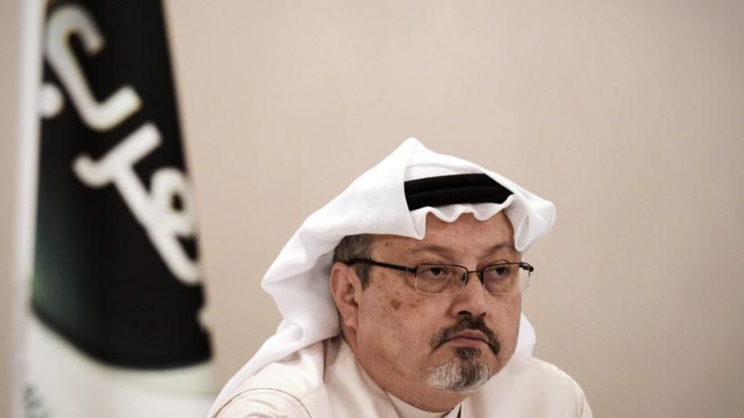 A photo of Jamal Khashoggi speaking at a press conference