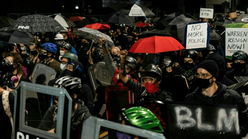 Protesters march for the sixth consecutive night of protest on September 7, 2020, following the release of video evidence that shows the death of Daniel Prude while in the custody of Rochester Police in Rochester, New York. (MARANIE R. STAAB/AFP via Getty Images)