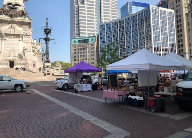 The farmer's market on Monument Circle
