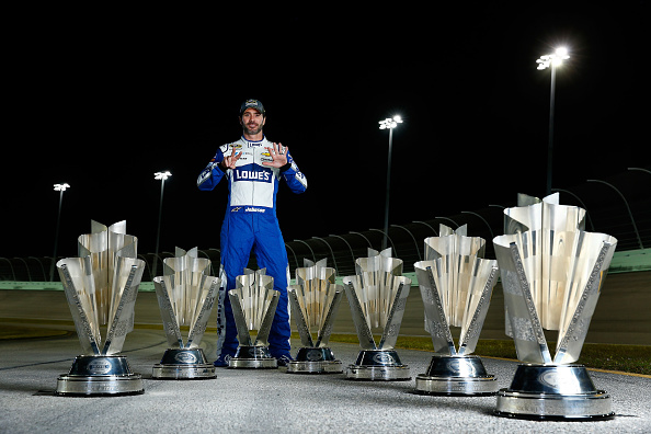 Jimmie Johnson, driver of the #48 Lowe's Chevrolet, poses for a portrait after winning the 2016 NASCAR Sprint Cup Series Championship at Homestead-Miami Speedway on November 20, 2016 in Homestead, Florida.