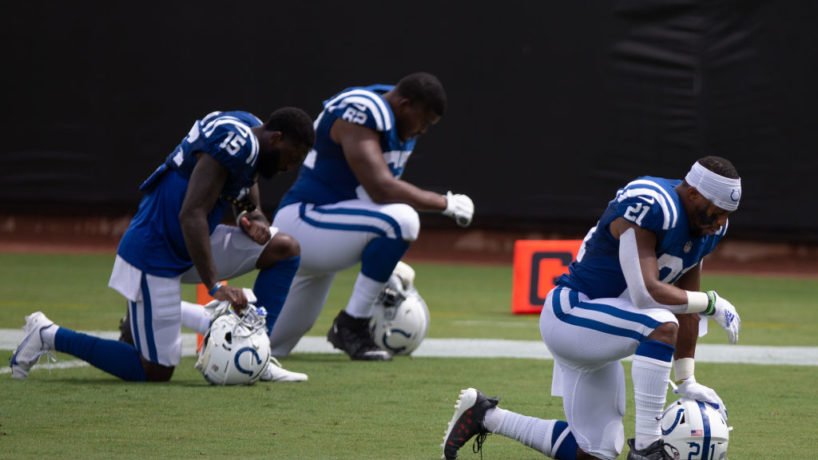 Indianapolis Colts Running Back Nyheim Hines (21), Indianapolis Colts Wide Receiver Parris Campbell (15), and Indianapolis Colts Offensive Tackle Le'Raven Clark (62) kneel in the end zone during the game between the Indianapolis Colts and the Jacksonville Jaguars on September 13, 2020 at TIAA Bank Field in Jacksonville, Fl. Photo by David Rosenblum/Icon Sportswire via Getty Images)