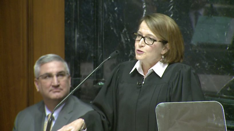 Indiana Supreme Court Chief Justice Loretta H. Rush delivering the 2020 State of the Judiciary address. The 2021 address was posted to YouTube instead of being delivered in person.