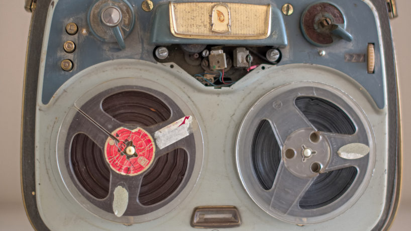 Old vintage reel tape recorder.