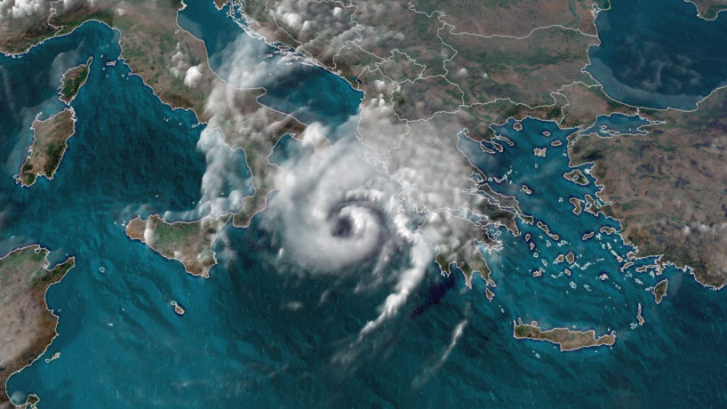 A satellite image of a 'medicane,' a hurricane in the Mediterranean Sea.