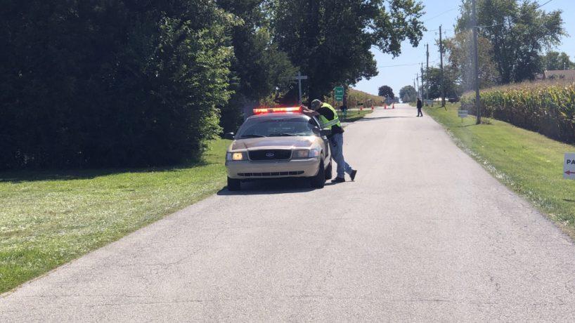 Howard County Sheriff blocks off a county road near the scene of the fatal plane crash in Kokomo