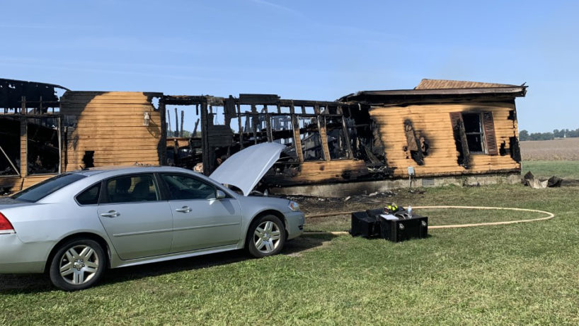 The scene of a fatal house fire in Carroll County, Ind.