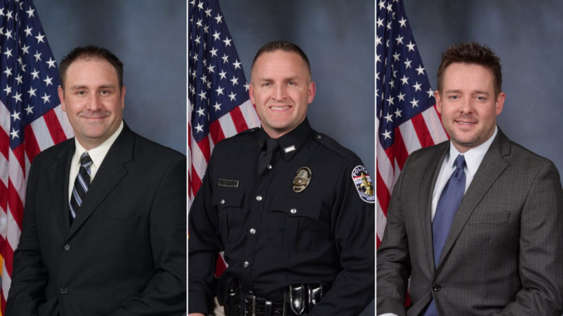 Louisville police officers Myles Cosgrove, Brett Hankison and Jonathan Mattingly are pictured. Hankison was fired by Louisville's police chief for his role in the shooting.
