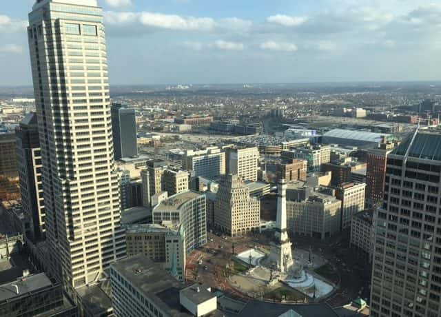 A photo of the skyline over downtown Indianapolis